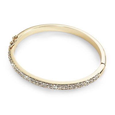 Half Pave Gold Bangle with complimentary Filigree Keepsake Box