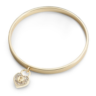 Gold Padlock Bangle with complimentary Classic Beveled Edge Round Keepsake Box