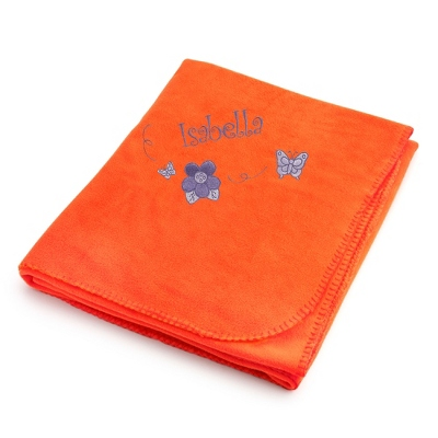 Butterflies & Flowers on Bright Orange Fleece Blanket