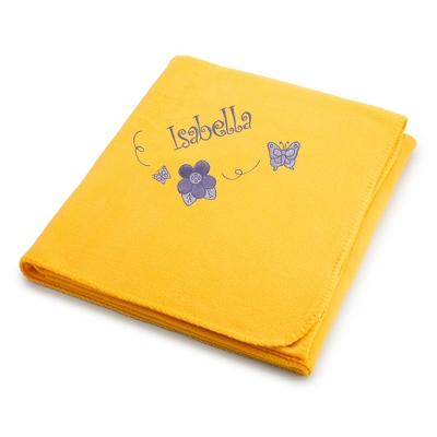 Butterflies & Flowers on Bright Yellow Fleece Blanket