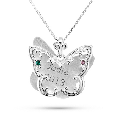 Sterling Silver 2 Birthstone Butterfly Necklace with complimentary Filigree Keepsake Box