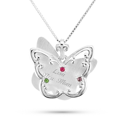 Sterling Silver 3 Birthstone Butterfly Necklace with complimentary Filigree Keepsake Box