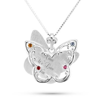Sterling Silver 4 Birthstone Butterfly Necklace with complimentary Filigree Keepsake Box
