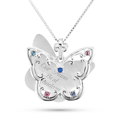 Sterling Silver 5 Birthstone Butterfly Necklace with complimentary Filigree Keepsake Box