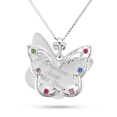 Sterling Silver 6 Birthstone Butterfly Necklace with complimentary Filigree Keepsake Box