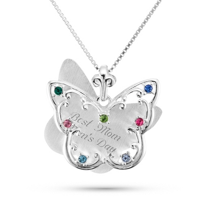 Sterling Silver 7 Birthstone Butterfly Necklace with complimentary Filigree Keepsake Box