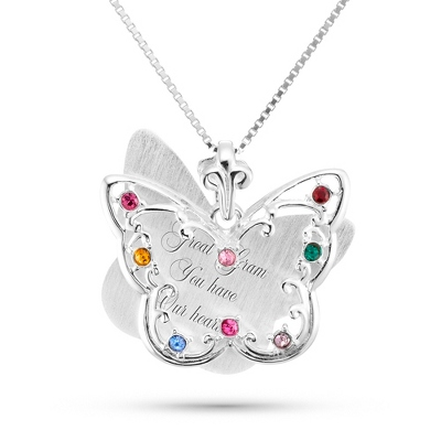 Sterling Silver 8 Birthstone Butterfly Necklace with complimentary Filigree Keepsake Box