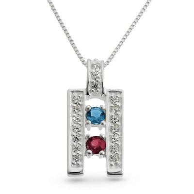 Sterling Silver 2 Birthstone Ladder Pendant with complimentary Filigree Keepsake Box - Couple's Gifts