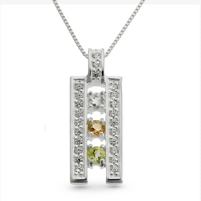 Sterling Silver 3 Birthstone Ladder Pendant with complimentary Filigree Keepsake Box - $49.99