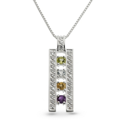 Sterling Silver 4 Birthstone Ladder Pendant with complimentary Filigree Keepsake Box - $75.00