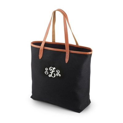 Black Canvas Tote with Leather Trim
