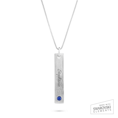 Sterling Silver Birthstone Bar Pendant Necklace with complimentary Filigree Keepsake Box
