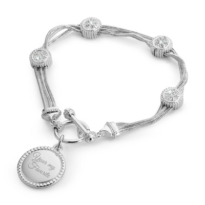 Toggle Bracelet with CZ Stations with complimentary Filigree Keepsake Box - Fashion Bracelets & Bangles