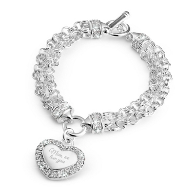 Pave Heart Toggle Bracelet with complimentary Filigree Keepsake Box - Fashion Bracelets & Bangles