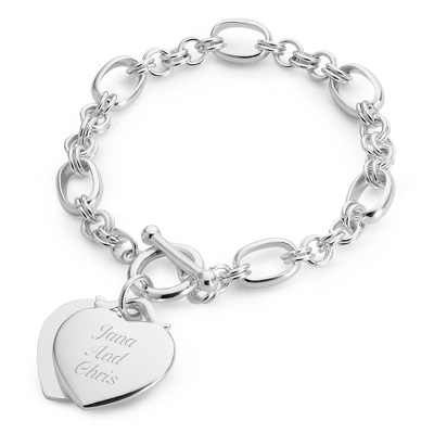 Classic Double Heart Toggle Bracelet - Fashion Bracelets & Bangles