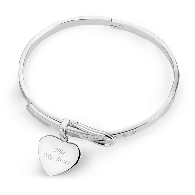 Buckle Bangle with Heart Plaque with complimentary Round Keepsake Box - Fashion Bracelets & Bangles