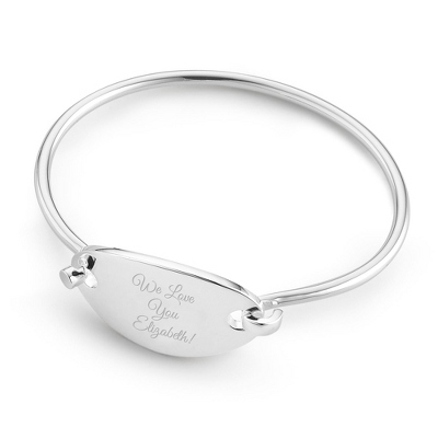 Petite Bangle with Oval Plaque with complimentary Classic Beveled Edge Round Keepsake Box - BOGO Bracelet Sale