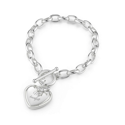 Classic Heart & Bow Toggle Bracelet with complimentary Filigree Keepsake Box