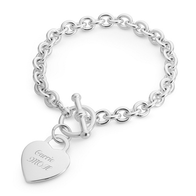 Classic Padlock Heart Toggle Bracelet with complimentary Filigree Keepsake Box - Bridesmaid Jewelry