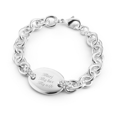 Classic Oval Bling Bracelet with complimentary Filigree Keepsake Box - Fashion Bracelets & Bangles