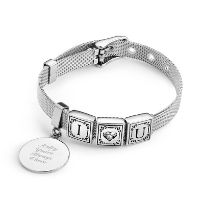Words from the Heart Bracelet with 3 Tiles with complimentary Filigree Keepsake Box - Bridesmaid Jewelry
