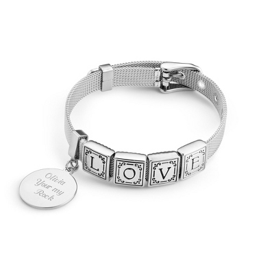 Words from the Heart Bracelet with 4 Tiles with complimentary Filigree Keepsake Box - UPC 825008322547