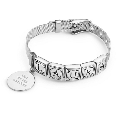 Words from the Heart Bracelet with 5 Tiles with complimentary Filigree Keepsake Box - $39.99