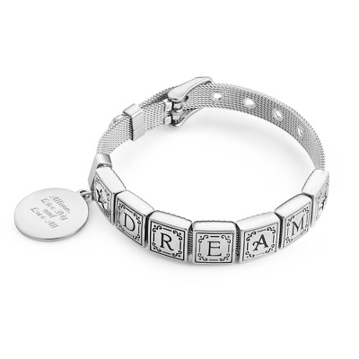Words from the Heart Bracelet with 7 Tiles with complimentary Filigree Keepsake Box - $44.99