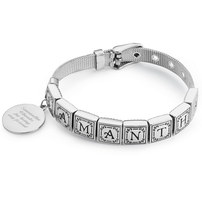 Words from the Heart Bracelet with 8 Tiles with complimentary Filigree Keepsake Box - $50.99