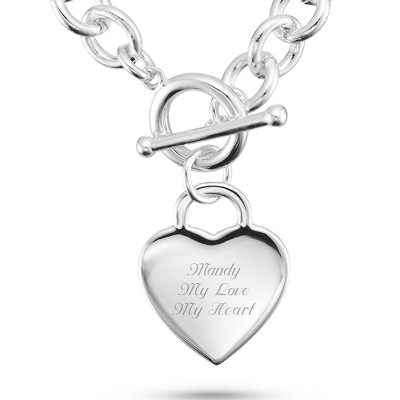 Engravable Heart Toggle Necklace