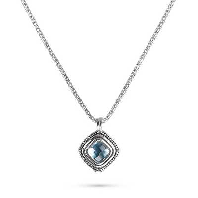 Blue Cushion Cut Pendant with complimentary Filigree Keepsake Box