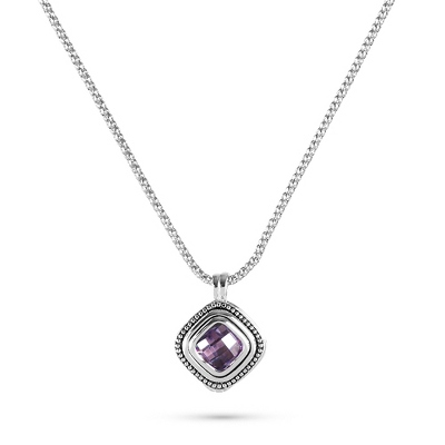 Purple Cushion Cut Pendant with complimentary Filigree Keepsake Box