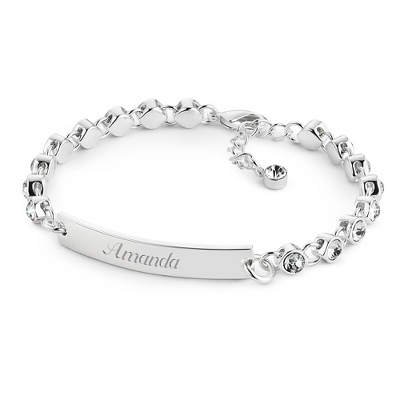 Crystal Link ID Bracelet with complimentary Filigree Keepsake Box