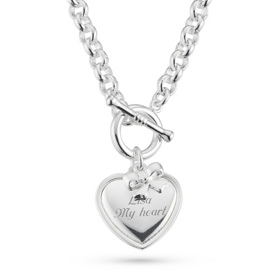 Classic Heart & Bow Toggle Necklace with complimentary Filigree Keepsake Box - Fashion Necklaces