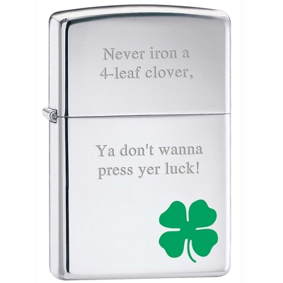 Zippo Polished Silver Shamrock Lighter