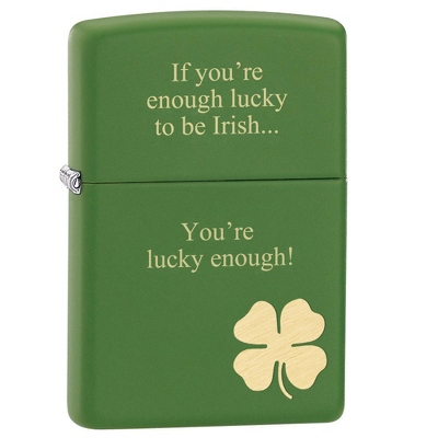 Zippo Matte Green Shamrock Lighter - Smoking & Lighters