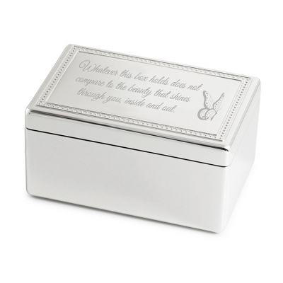 "Rectangle Beaded Music Box w/ ""I'll Be There"" - Jewelry Boxes & Keepsake Boxes"