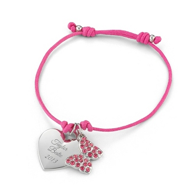 Pink Butterfly Friendship Bracelet with complimentary Filigree Keepsake Box - $14.99