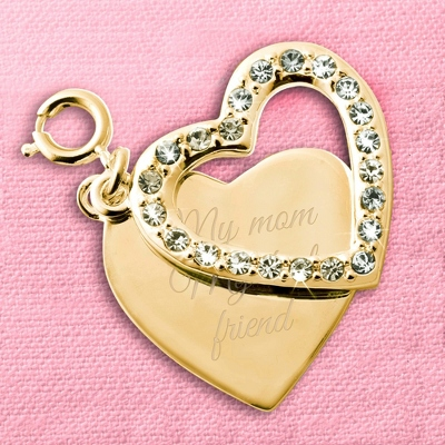 Gold CZ Heart Swing Charm