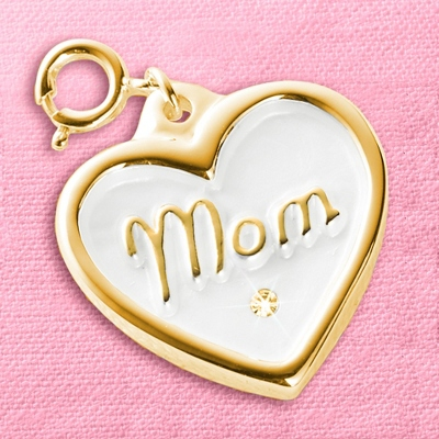 Gold Heart Mom Waxseal Charm