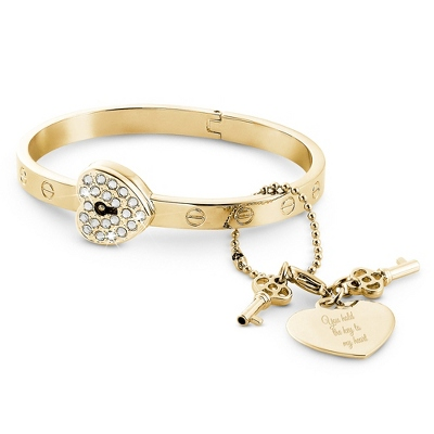 Gold Lock and Key Bangle with complimentary Classic Beveled Edge Round Keepsake Box
