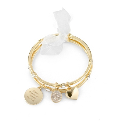 Gold Bezel Set Bangle with complimentary Classic Beveled Edge Round Keepsake Box