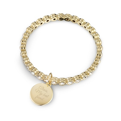 Gold Eternity Clear Bangle with complimentary Filigree Keepsake Box - Fashion Bracelets & Bangles