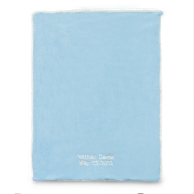 Blue Plush Sherpa Baby Blanket