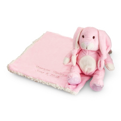 Personalized Plush Pink Bunny & Sherpa Blankie Set