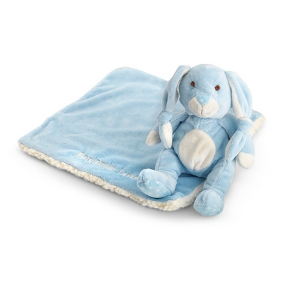 Personalized Blue Bunny & Sherpa Blankie Set for Infant Boys
