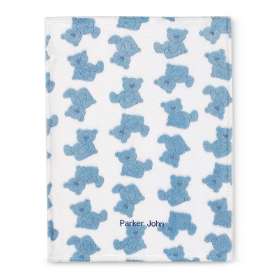 Blue Plush Bear Blanket