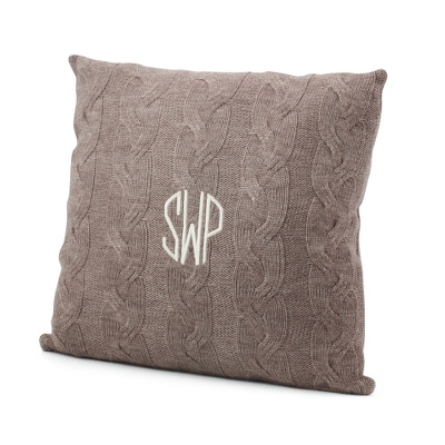 Taupe Cable Knit Pillow - Solid Throws