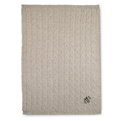 Sand Cable Knit Throw - $180.00