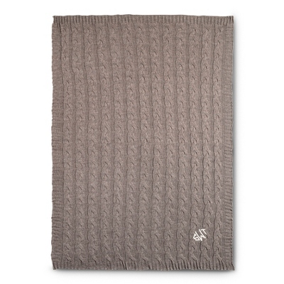 Taupe Cable Knit Throw - UPC 825008326637